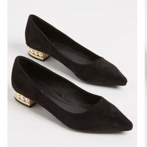 Shoes - 🆕Cute Black Faux Suede Pearl Heel Flats